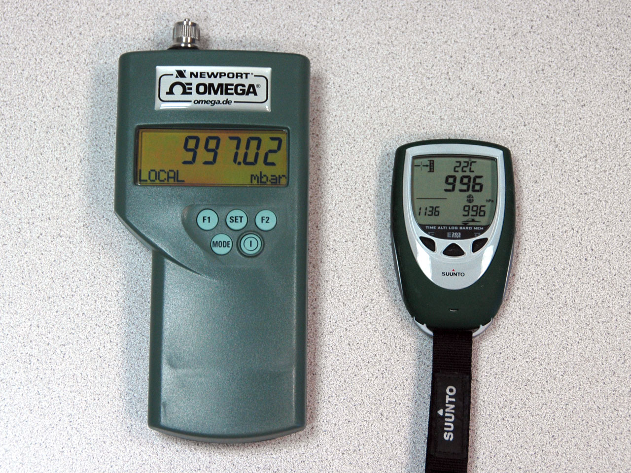 Comparing the barometers is even easier - just put them ...